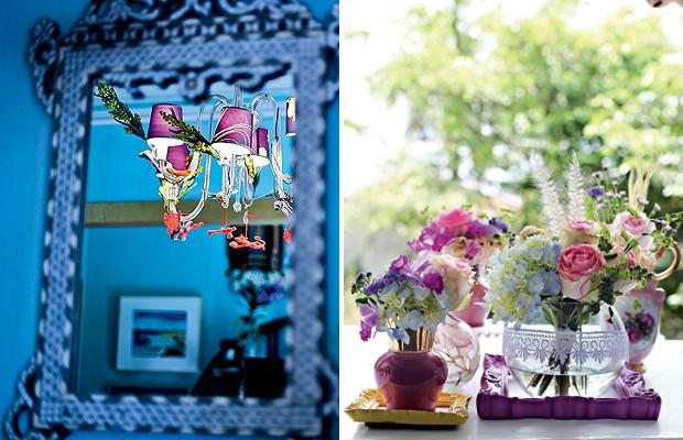 À esq., não mude demais a decoração da casa, para não descaracterizá-la. A artista plástica Isabelle Tuchband enfeitou seu lustre com flores artificiais e divindades hindus para um jantar com amigos.  À dir., aproveite o dia de festa para fazer arranjos d (Foto: Ricardo Côrrea e Rogério Voltan/Casa e Comida)