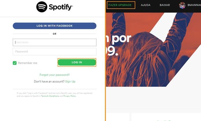 Acesse sua conta do Spotify e selecione o item de upgrade (Foto: Reprodução/Barbara Mannara)