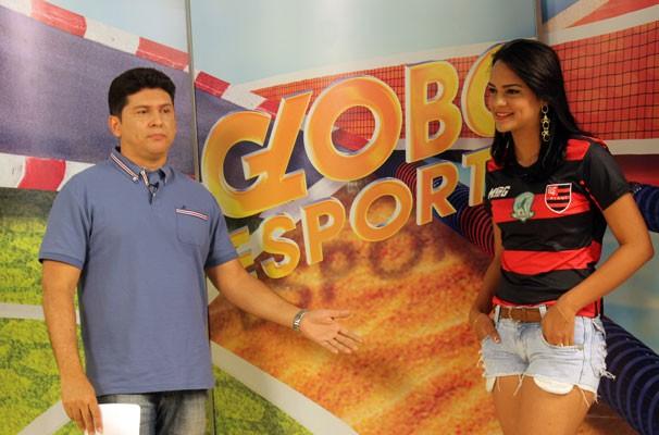 Yasmin Corrêa no Globo Esporte (Foto: Katylenin França/TV Clube)