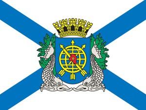 Bandeira oficial atual da cidade do Rio de Janeiro, com o brasão com dois botos-cinza representados (Foto: Divulgação/ Prefeitura do Rio de Janeiro)