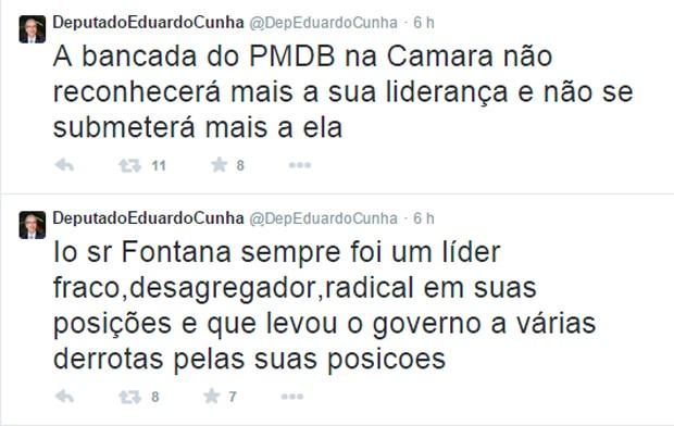 No Twitter, Eduardo Cunha criticou o líder do governo na Câmara (Foto: Reprodução/Twitter)