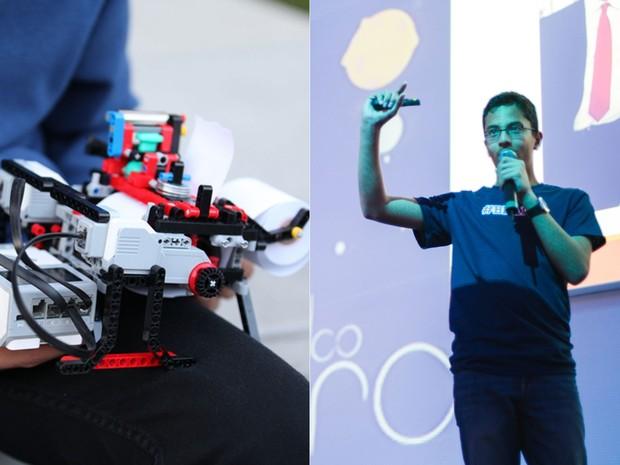 Indiano Shubha Banerjee, 13 anos, fala sobre impressora braile de Lego, na Campus Party (Foto: Divulgação/Willian Alves/Campus Party)