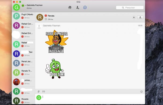 Memes brasileiros divertem as conversas do ICQ (Foto: Reprodução/Gabriella Fiszman)