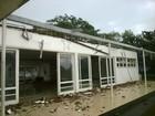 Vento destelha área de escola da Aeronáutica em Guaratinguetá, SP