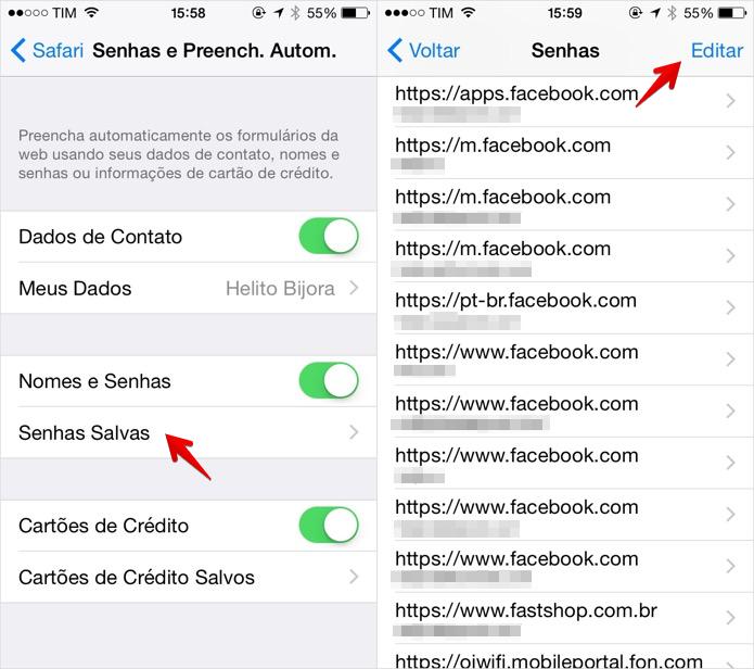 Acessando lista de logins salvos pelo Safari (Foto: Reprodução/Helito Bijora)