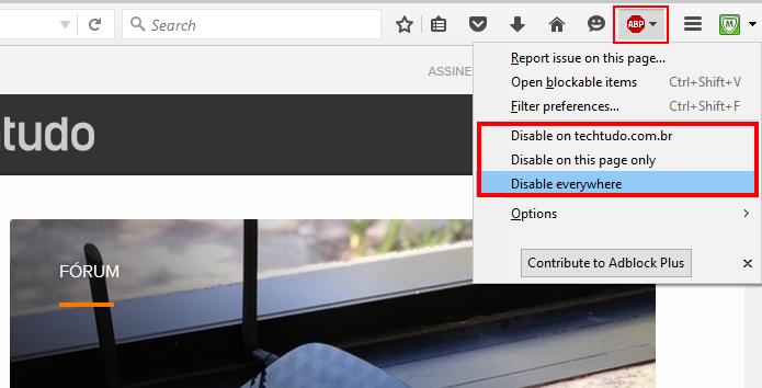Extensão permite mostrar propagandas em páginas específicas, sem afetar outros domínios (Foto: Reprodução/Firefox)