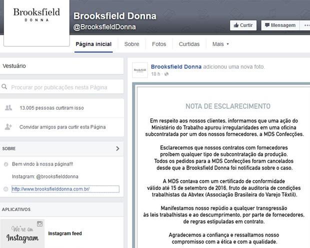 Brooksfield Donna (Foto: Reprodução/Facebooik/Brooksfield Donna)