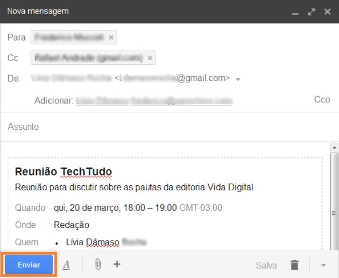 Enviando o convite da reunião via e-mail (Foto: Reprodução/Lívia Dâmaso)