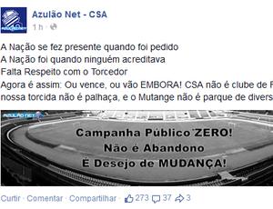 Perfil de torcedores lança campanha e pede adesão da torcida do CSA (Foto: Reprodução)