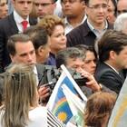 Dilma e Aécio acompanharam velório (Lucas Liausu/Globoesporte.com)