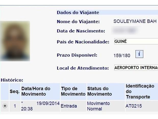 Documento africano suspeito de ter ebola (Foto: Divulgação/PF)