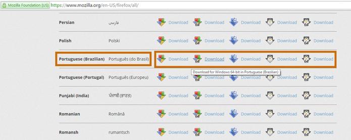 Acesse a página de downloads da Mozilla Firefox e baixe o instalador offline (Foto: Reprodução/Barbara Mannara)