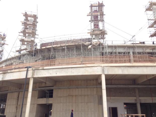 Obras do Centro Olímpico, na Barra da Tijuca (Foto: Káthia Mello/G1)