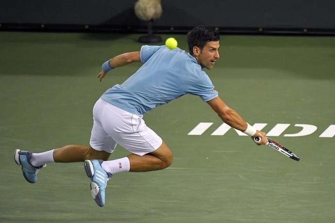cb8ee4fdb93 Novak Djokovic na partida contra Juan Martin del Potro em Indian Wells  (Foto  AP