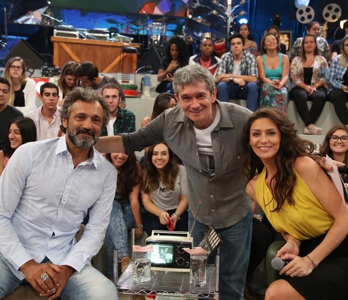 Domingos Montagner e Maria Fernanda Cândido com Serginho (Foto: Carol Caminha/Gshow)