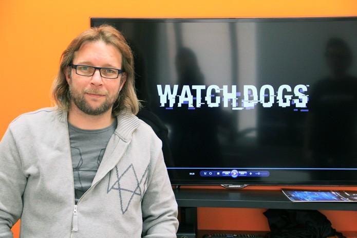O diretor de conteúdo de Watch Dogs, Thomas Geffroyd, é responsável por gerenciar os conceitos que constroem a experiência do jogo (Foto: Renato Bazan/TechTudo)