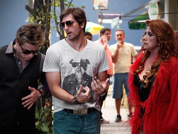 Rita grava ao lado de Fábio Assunção e Vladimir Brichta (Foto: Raphael Dias / TV Globo)