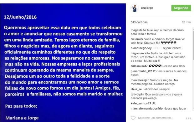 Seu Jorge anuncia separação (Foto: Reprodução/Instagram)