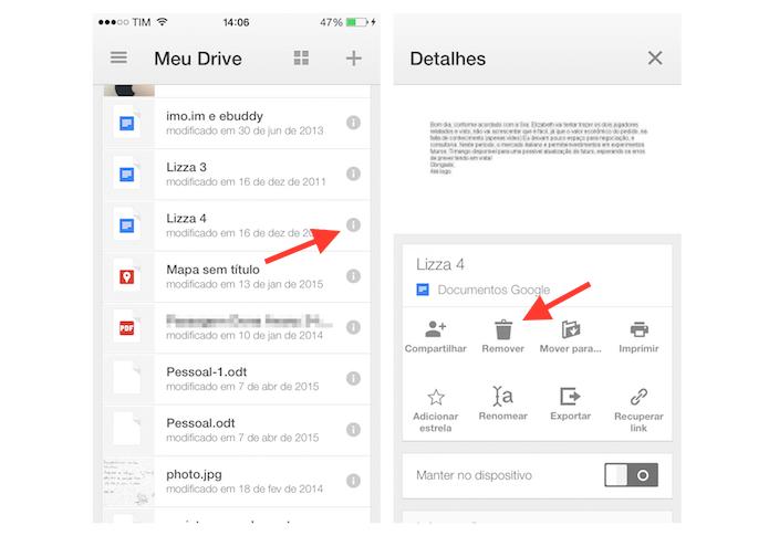Iniciando a ação para deletar um arquivo do Google Drive pelo iPhone (Foto: Reprodução/Marvin Costa)