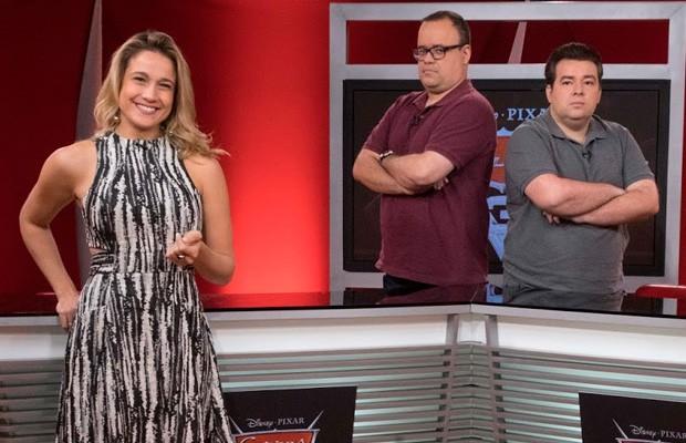 Fernanda Gentil, Everaldo Marques e Rômulo Mendonça dublam personagens em Carros 3 (Foto: Disney)