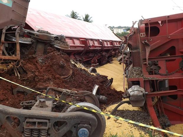 Ao todo, nove vagões se descarrilaram no acidente em Rio Preto  (Foto: Marcos Lavezo/G1)