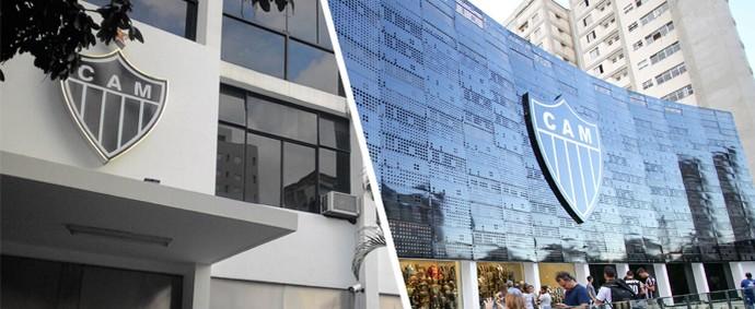 Compare a antiga fachada (à esquerda) da Sede do Galo, com a sede com a fachada remodelada (Foto: GloboEsporte.com)