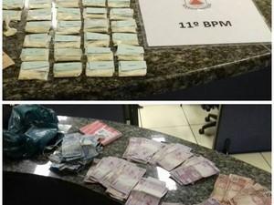 Maior parte da droga e do dinheiro estavam na casa do suspeito (Foto: PM / Divulgação)