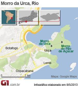 Morro da Urca - localização - vale este (Foto: Editoria de Arte/G1)