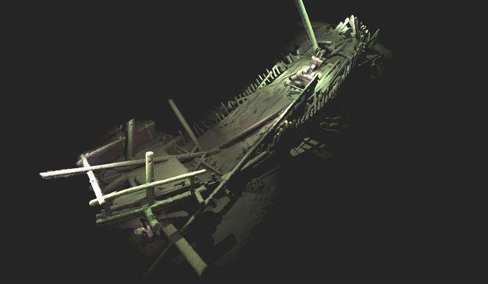Modelo de navio naufragado da Idade Média (Foto: Rodrigo Pacheco-Ruiz)