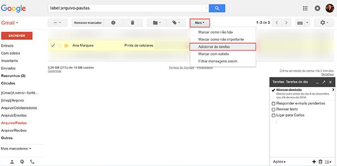 Clique em opção destacada para adicionar e-mail à nova tarefa do Gmail (Foto: Reprodução/Elson de Souza)