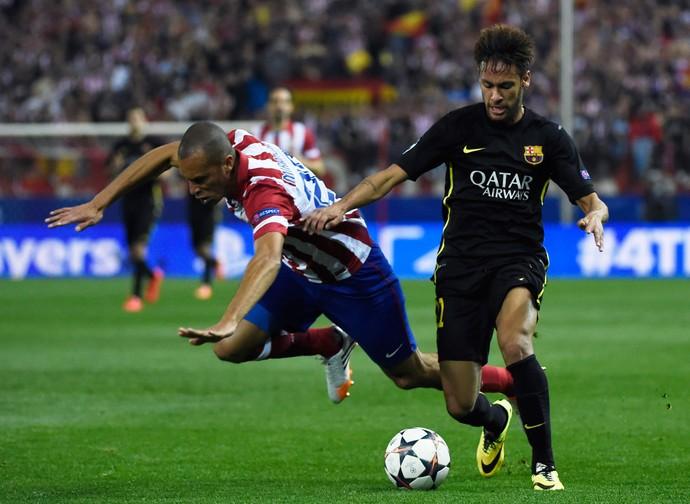 Miranda e Neymar Barcelona x Atletico de Madrid (Foto: AFP)