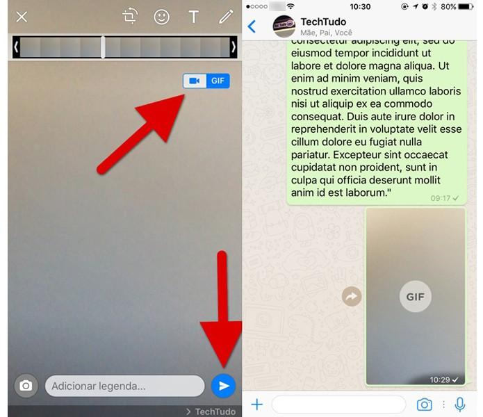 Transformando vídeos em GIFs no WhatsApp (Foto: Reprodução/Helito Bijora)
