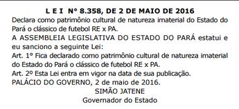 Re-Pa é declarado patrimônio imaterial do Estado do Pará (Foto: Diário Oficial/Reprodução)