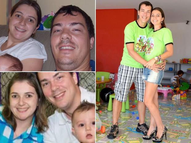 O marido de Leda, Leonardo José Rauen de Oliveira Miguel, de 36 anos, seguiu os passos da mulher e também mudou alimentação, emagrecendo 14 kg (Foto: Leda Miguel/Arquivo pessoal)