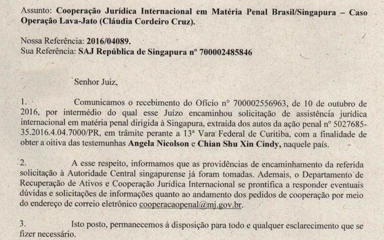 Brasil pede cooperação com Singapura em processo de Cláudia Cruz (Foto: Reprodução)
