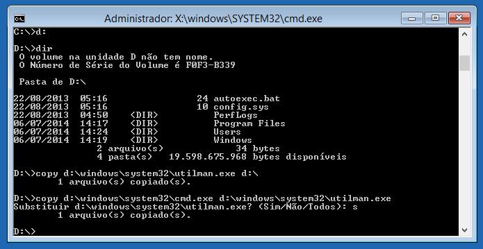 Substituindo assistente de acessibilidade pelo prompt de comandos (Foto: Reprodução/Helito Bijora)