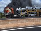 Caminhão cegonha pega fogo na BR-050 entre Uberaba e Uberlândia