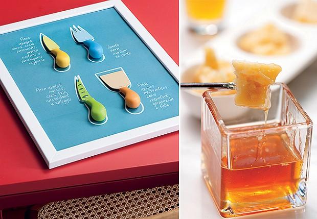 Lâminas certas - Uma impressão feita em casa ajuda a identificar a faca adequada para cada queijo. Moldura Tok & Stok, conjunto de facas Spicy e grana padano com mel trufado (Foto: Iara Venanzi )