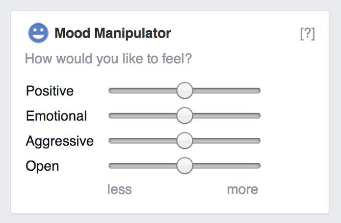 Leve as barras para a esquerda ou para a direita para mudar a estrutura do feed (Foto: Reprodução/Mood Manipulator)