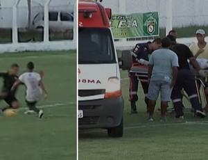 Atacante do Sabiá, Sharlysson, quebra a perna direita e fica cinco meses sem jogar futebol (Foto: Reprodução/TV Mirante)