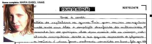 Trecho de redação de Maria Isabel Viñas, do Rio de Janeiro. (Foto: Reprodução/Divulgação)