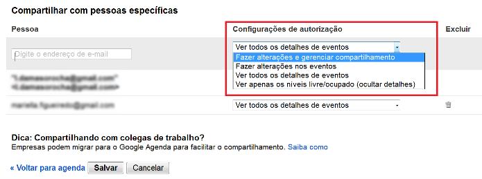 Configurando as opções de compartilhamento e acesso do contato no Google Agenda (Foto: Reprodução/Lívia Dâmaso)