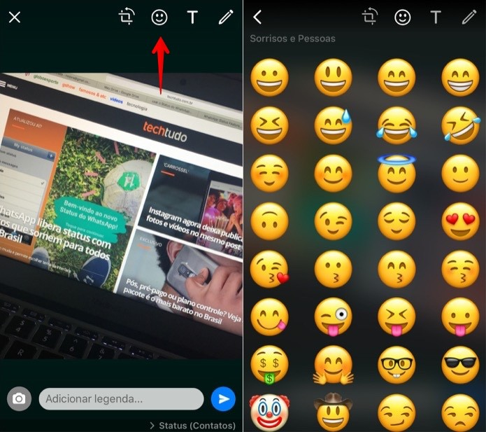 Adicionando emojis às suas fotos e vídeos (Foto: Reprodução/Helito Bijora)