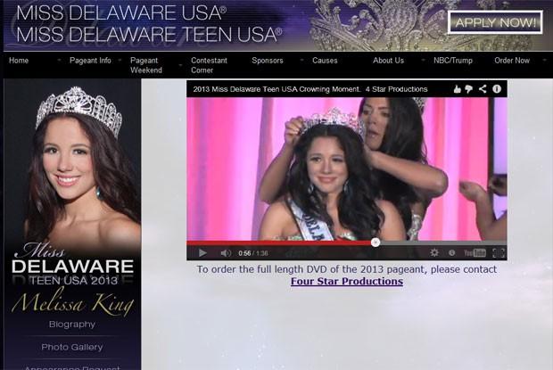 Site do concurso ainda trazia nesta quinta-feira Melissa King como campeã (Foto: Reprodução)
