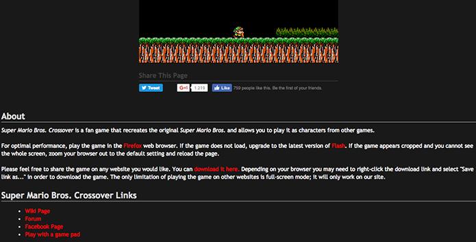 Também dá p[ara baixar o Super Mario Crossover para o seu PC (Foto: Reprodução/Murilo Molina)