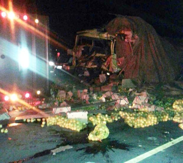 Segundo polícia, motorista de ônibus não teria visto caminhão que transportava frutas (Foto: André Grandi)
