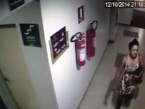 Câmera registrou momento em que Maria José deixou hotel em Goiânia (Foto: Reprodução/ Polícia Civil)