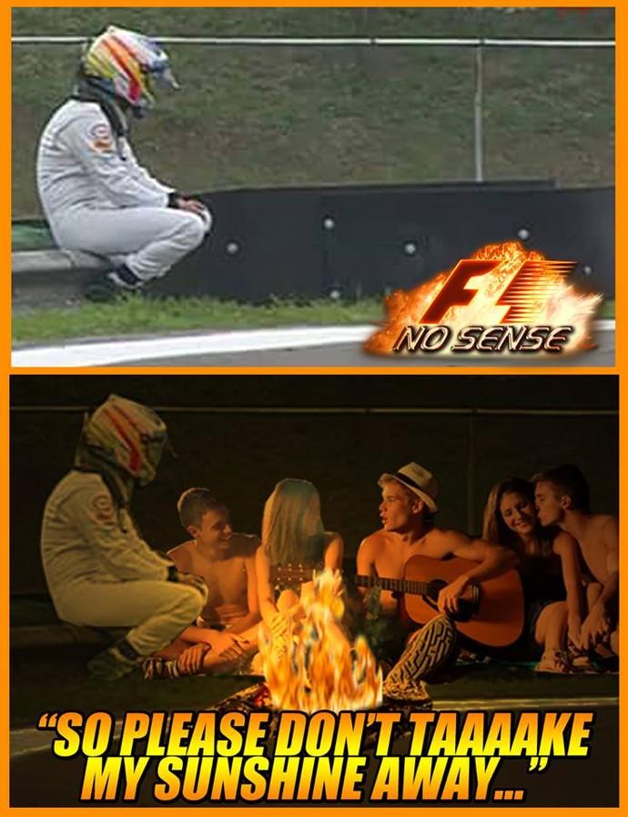 Imagens de Fernando Alonso em Interlagos renderam muitas piadas dos internautas (Foto: Reprodução / Facebook)