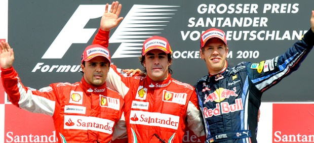 Massa, Alonso e Vettel. Podio do GP alemanha F1 (Foto: AFP)