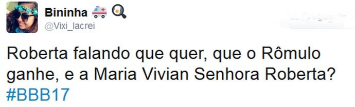 Roberta declara torcida para Rômulo e surpreende internautas (Foto: Reprodução da Internet / Twitter @Vixi_lacrei)